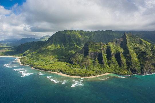 Aerial of the Napali coast, Kauai, Hawaii