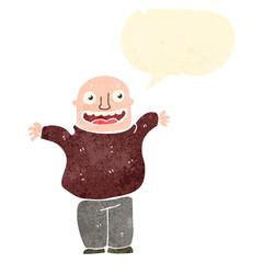 retro cartoon happy bald man