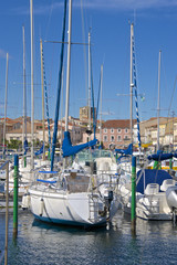 Boats in marina, Meze, Herault, Languedoc Roussillon region, France, Europe