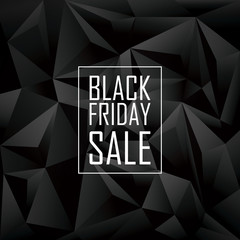 Black friday sale poster. Low polygonal geometric design. White