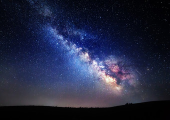 Aluminium Prints Night Milky Way. Beautiful summer night sky with stars in Crimea