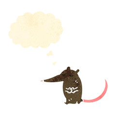 retro cartoon mouse with thought bubble