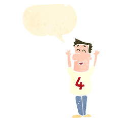retro cartoon man in shirt number four with speech bubble