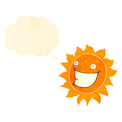retro cartoon sun character with thought bubble