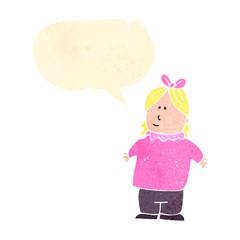 retro cartoon overweight girl with speech bubble