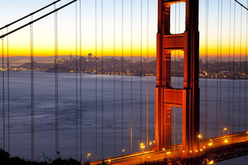 Golden Gate Bridge and San Francisco skyline at dawn, San Francisco, California, United States of America, North America