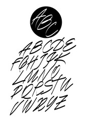 Calligraphic alphabet. Design elements