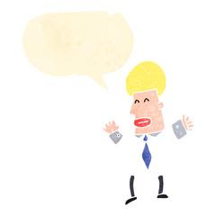 retro cartoon man with speech bubble