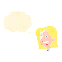 retro cartoon happy blond woman with thought bubble