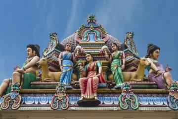Hindu deities at Sri Mariamman (Mother Goddess Temple), oldest Hindu place of worship, Chinatown, Singapore, Southeast Asia, Asia