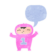 retro cartoon baby with speech bubble