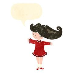 retro cartoon pretty girl with speech bubble