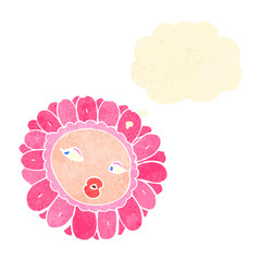 retro cartoon flower with thought bubble