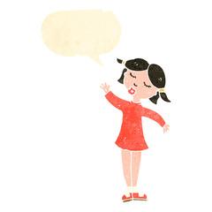 retro cartoon girl with speech bubble