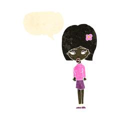 retro cartoon woman with speech bubble