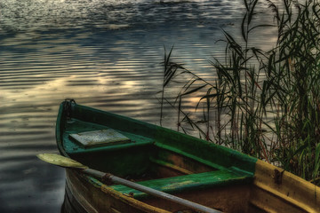 Old boat with an oar on the shore in the reeds evening twilight