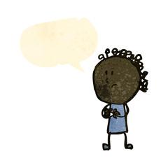 retro cartoon nervous doodle woman with speech bubble