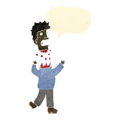 retro cartoon man with severed head