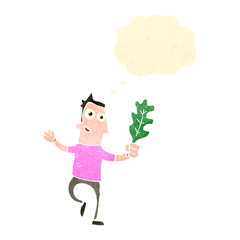 retro cartoon man with thought bubble and leaf,