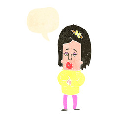 retro cartoon worried woman