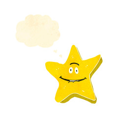 retro cartoon star with thought bubble
