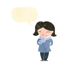 retro cartoon woman with speech bubble wearing scarf