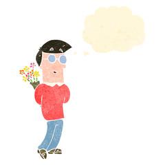 retro cartoon man with flowers