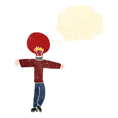 retro cartoon man with red light bulb head and thought bubble