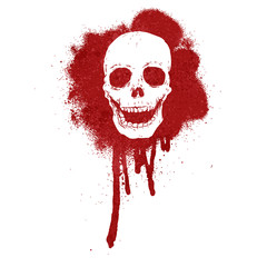 graffit skull blood red