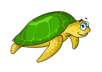 Swimming cartoon green turtle animal