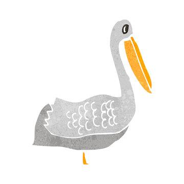 retro cartoon pelican