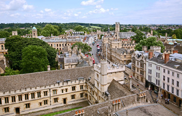 Panoramic rooftop view of Oxford, England