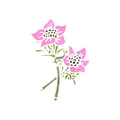 retro cartoon wild flowers