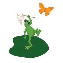 frog catches a butterfly