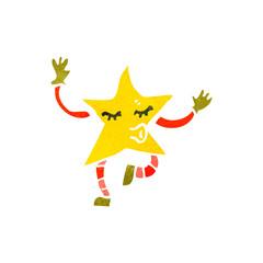 retro cartoon little star creature