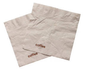 brown tissue paper on white background