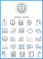 Money of business icons set vector