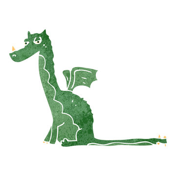 retro cartoon sitting dragon