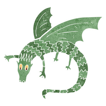 retro cartoon dragon