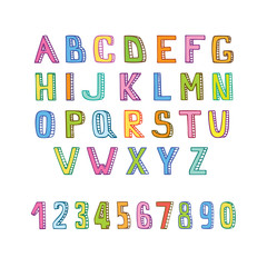 Handmade alphabet and numbers