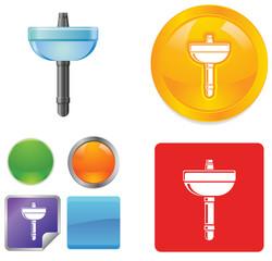 Lavatory fixture vector button icons