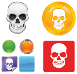 Skull vector button icons