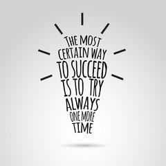 Inspirational quotation in idea bulb shape. Vector art.
