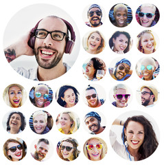 Portrait of Diverse Multiethnic Cheerful People Concept