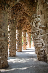 Sloped columns at the Guell Park, Barcelona, Spain