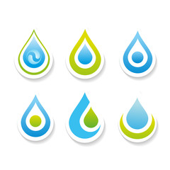 Collection signs - water. Templates for logos, icons, symbols.