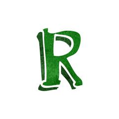 retro cartoon letter r