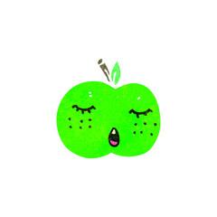 retro cartoon cute apple