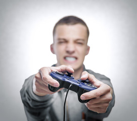 Young man with a joystick