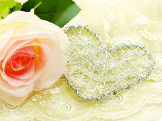 valentine day with heart and rose flower background